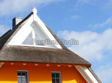 gabled thatched cottage home concept