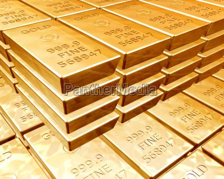stapel von goldbarren