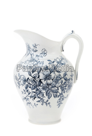 antique hand painted water pitcher isolated