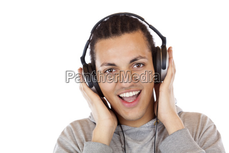 happy young africans with headphone mp3