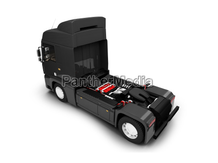 bigtruck isolated black back view