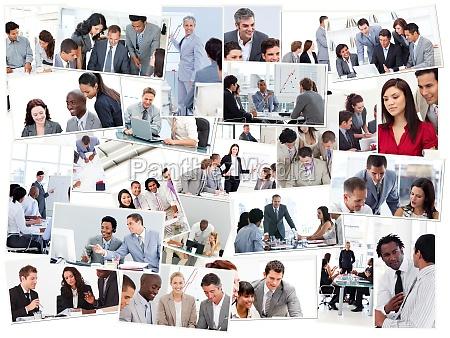 collage von geschaeftsleuten in sitzungen