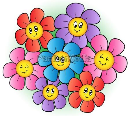 group of cartoon flowers