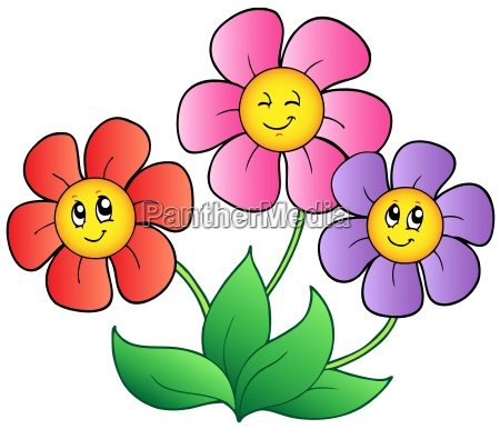 three cartoon flowers