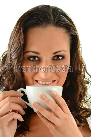 young female holding cup of coffee
