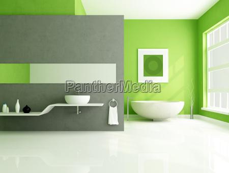 gruen und grau zeitgenoessische badezimmer