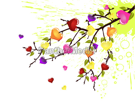 branch with colorful hearts