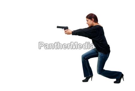 woman cop with gun