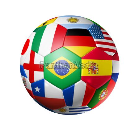 fussball fussball mit welt teams flaggen