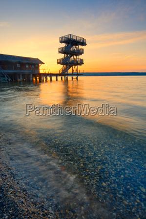 jump tower at the lake