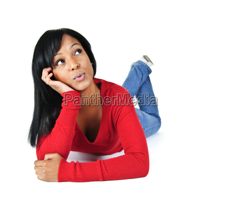young woman relaxing looking up