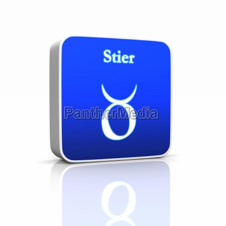 sternzeichen symbol stier blau weiss