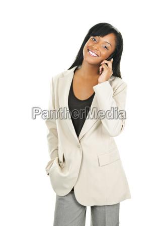 beautiful black businesswoman on phone