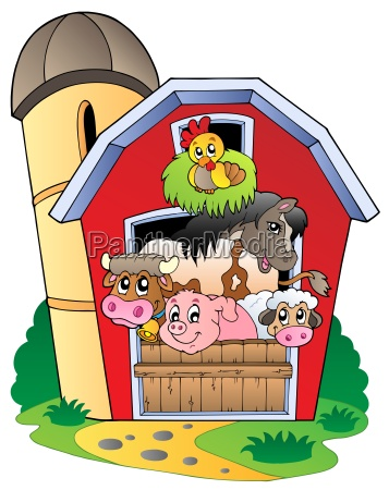barn with various farm animals