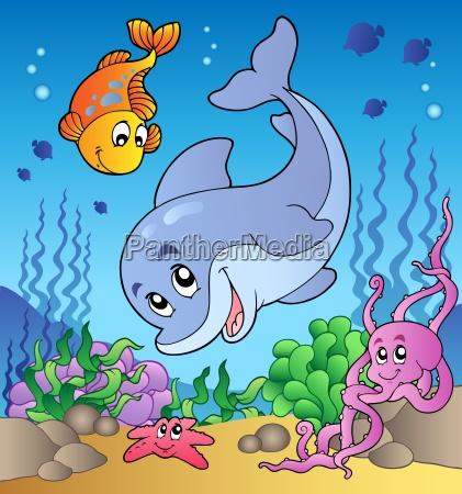 various cute animals at sea bottom