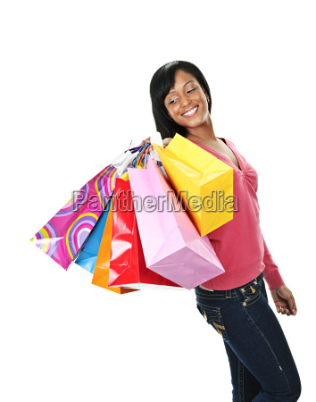 young smiling black woman with shopping