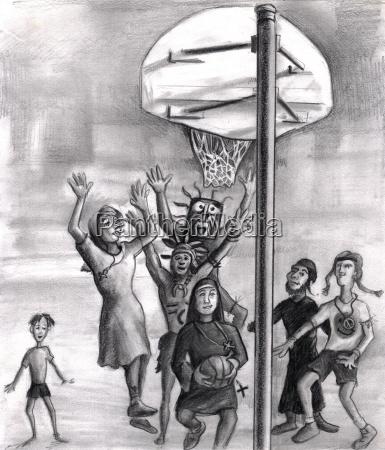 oh heilig religioes spielenden basketball