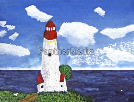 lighthouse with ocean view during the