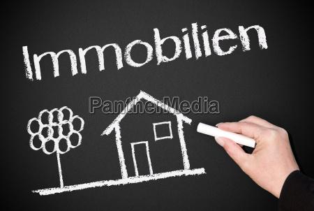 immobilien, -, kreide, tafel - 4989751