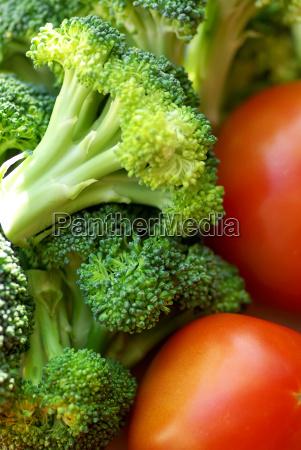 broccoli and mature tomato