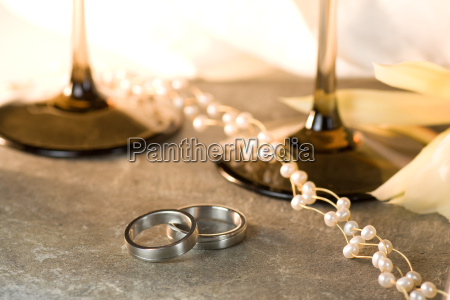 wedding rings in still life