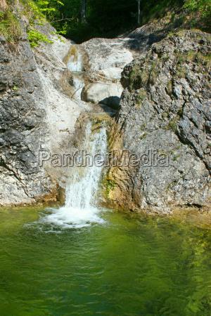mountains green wild alps stream waterfall