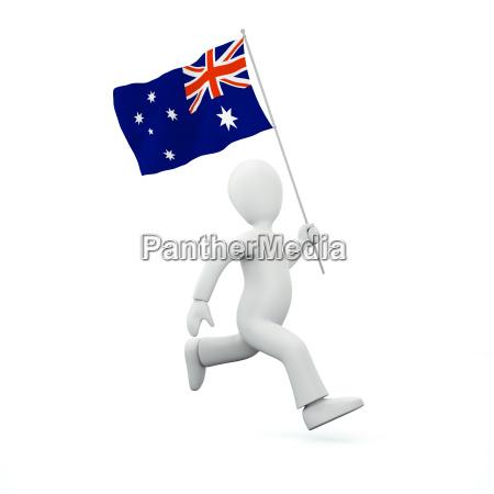 eine neuseelaendische flagge halten