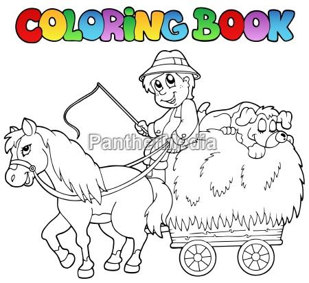 farbton buch mit warenkorb und farmer