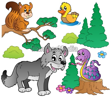 wald cartoon tiere set 2
