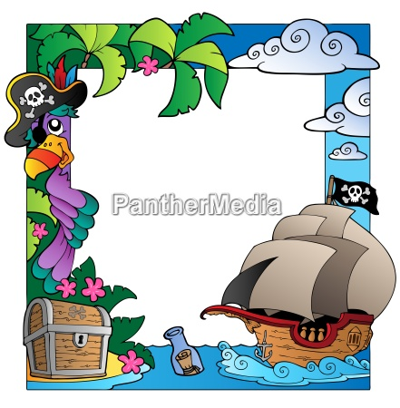 frame with sea and pirate theme