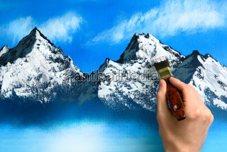 landschaftsmalerei beim entstehen