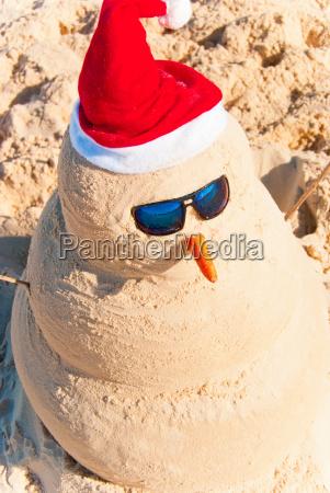 sand, build, schneemann, mit, sonnenbrille - 5102863
