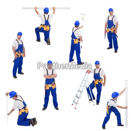 handwerker oder arbeiter in verschiedenen arbeitsstellungen