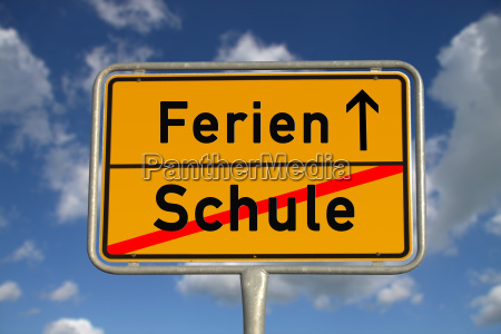 german town sign school holidays