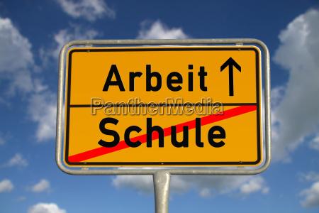 german town sign school work