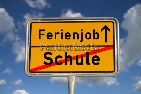 german ortsschild school holiday job