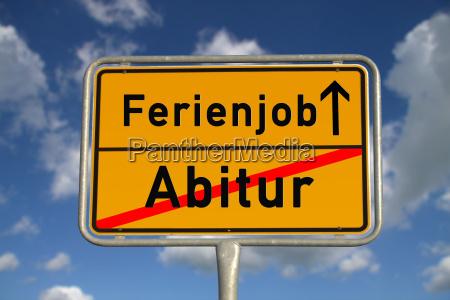 german abitur ortsschild summer job