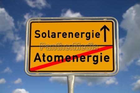 german ortsschild atomic solar energy