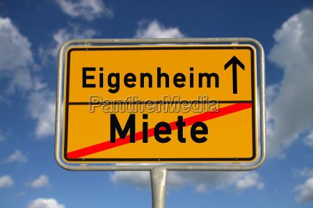 german ortsschild rent home