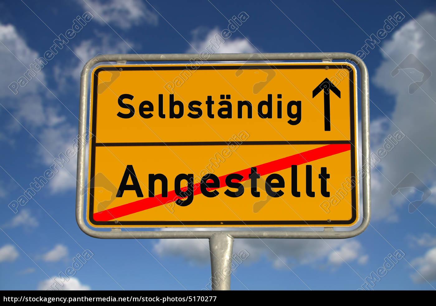 Deutsches Ortsschild Angestellt Selbständig Lizenzfreies Bild