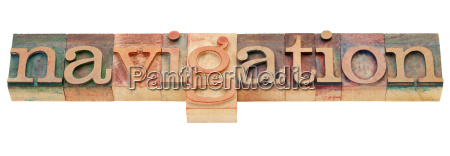 navigation word in letterpress type