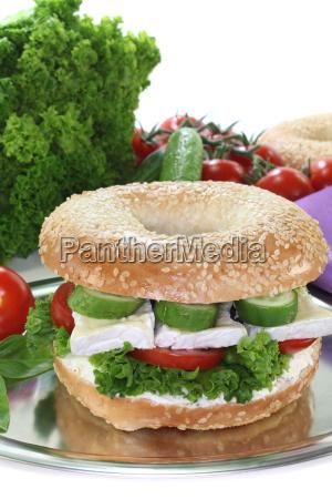 bagel with camembert