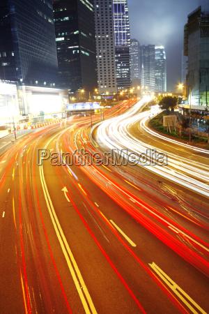 busy night traffic in hong kong