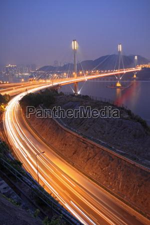 ting kau bridge at night hong