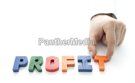 hand and word profit on white