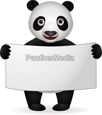 panda cartoon und leere zeichen
