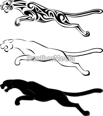 jaguar silhouette und stammes tattoo