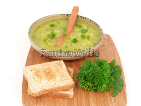 fresh pea soup with sausage deposit