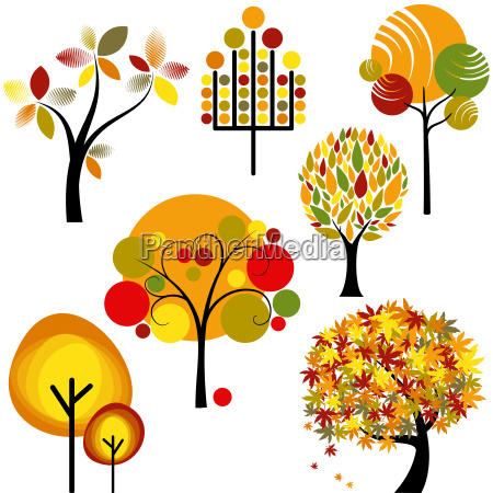 set of abstract autumn tree