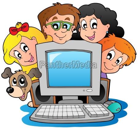 computer mit cartoon kids und hund